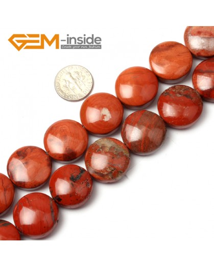 G1278 Natural Red Jasper  20mm Coin Stone Loose Beads strand Free Shipping Natural Stone Beads for Jewelry Making Wholesale