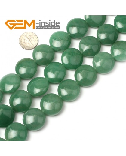 "G1282 Natural Green Aventurine 20mm Coin Stone Loose Beads Strand 15"" Free Shipping Natural Stone Beads for Jewelry Making Wholesale"