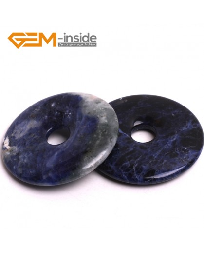 G15045 Sodalite (50mm) Natural Ring Lucky Buckle Beads For Earrings and Pendants 1 pcs 30 40 50mm Pick Pendants Fashion Jewelry Jewellery