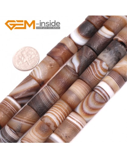 """G15065 12x18mm Frost Column Botswana Agate Beads 15"""" Jewelry Making Loose Beads Free Shipping Natural Stone Beads for Jewelry Making Wholesale"""