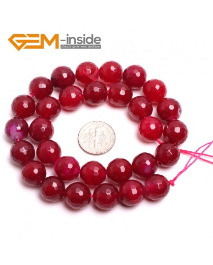 """G15091 12mm Round Faceted Meganta Jade Beads Dyed Color Strand 15"""" Stone Beads for Jewelry Making Wholesale"""