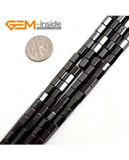 "G15130 5x6mm Column Faced Magnetic Black Hematite Gemstone Loose Beads 15"" Natural Stone Beads for Jewelry Making Wholesale"