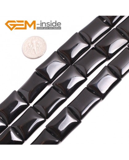 "G15235 15x20mm Rectangle Natural Black Agate Beads Strand 15"" Natural Stone Beads for Jewelry Making Wholesale"