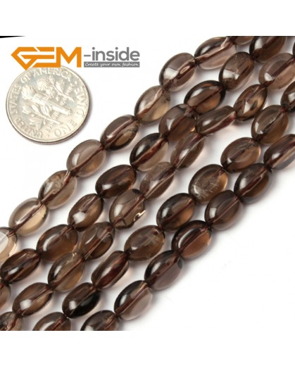 "G1796 6x9mm Smoky Quartz Freeform Gemstone Loose Beads Strand 15 "" Natural Stone Beads for Jewelry Making Wholesale"