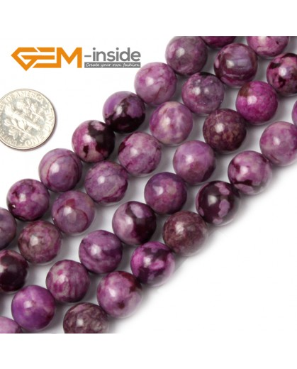 """G1933 12mm round Violet Purple Jasper Beads Strands 15"""" Beads for Jewelry Making Wholesale"""