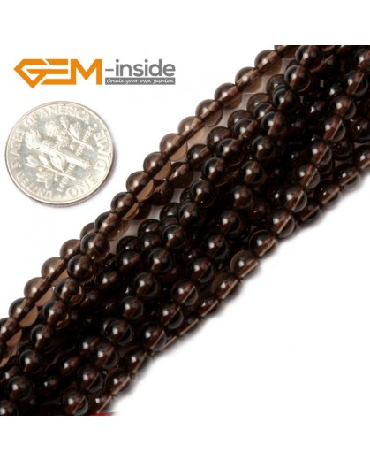 "G2041 4mm Natural Smoky Quartz Stone Round Gemstone Tiny Jewelry Making Loose Spacer Beads Strand 15"" Natural Stone Beads for Jewelry Making Wholesale"