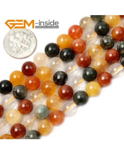 "G2112 8mm Round Mixed Color Quartz Stone Loose Beads Strand 15"" Natural Stone Beads for Jewelry Making Wholesale"