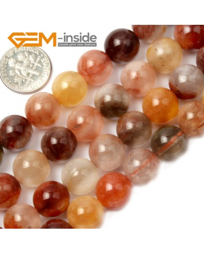 "G2114 12mm Round Mixed Color Quartz Stone Loose Beads Strand 15"" Natural Stone Beads for Jewelry Making Wholesale"