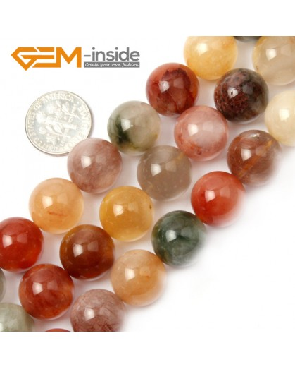 "G2115 14mm Round Mixed Color Quartz Stone Loose Beads Strand 15"" Natural Stone Beads for Jewelry Making Wholesale"