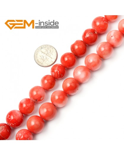 "G2257 12mm Round Orange Coral Beads Jewelry Making Gemstone Loose Beads Strand 15"" Stone Beads for Jewelry Making Wholesale"