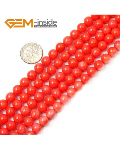 "G2260 8mm Round Orange Coral Beads Jewelry Making Gemstone Loose Beads Strand 15"" Stone Beads for Jewelry Making Wholesale"