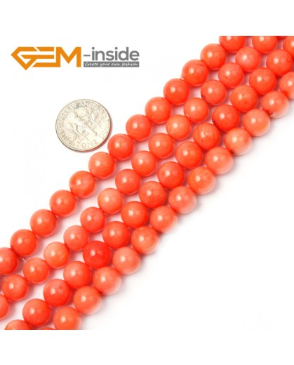 "G2262 8mm Round Light Orange Coral Beads Jewelry Making Gemstone Loose Beads Strand 15"" Stone Beads for Jewelry Making Wholesale"