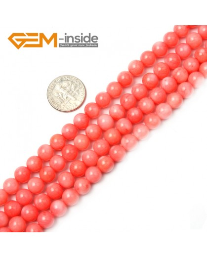 "G2263 7mm Round Pink Coral Beads Jewelry Making Gemstone Loose Beads Strand 15"" Stone Beads for Jewelry Making Wholesale"