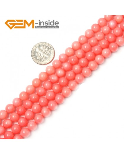 "G2264 6mm Round Pink Coral Beads Jewelry Making Gemstone Loose Beads Strand 15"" Stone Beads for Jewelry Making Wholesale"