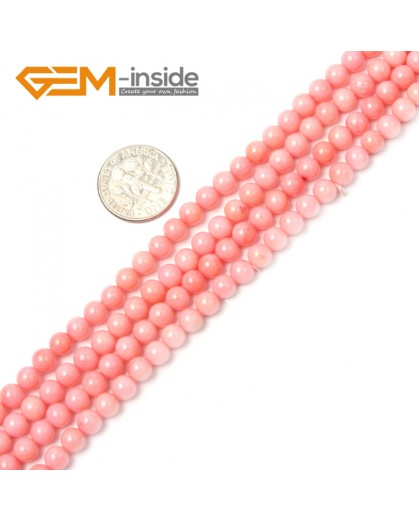 "G2265 5mm Round Pink Coral Beads Jewelry Making Gemstone Loose Beads Strand 15"" Stone Beads for Jewelry Making Wholesale"