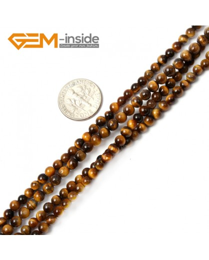 "G2411 4mm Natural Yellow Tiger Eye Round Gemstone Tiny Jewelry Making Loose Spacer Beads Strand 15"" Natural Stone Beads for Jewelry Making Wholesale"