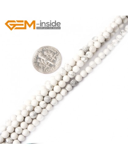 """G2423 4mm Natural White Turquoise Howlite Round Gemstone Tiny Jewelry Making Loose Spacer Beads Strand 15"""" Natural Stone Beads for Jewelry Making Wholesale"""