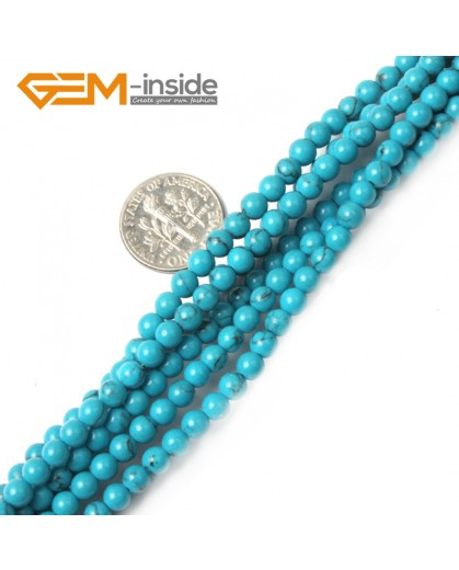 "G2424 4mm Dyed Howlite Turquoise Round Gemstone Tiny Jewelry Making Loose Spacer Beads Strand 15"" Natural Stone Beads for Jewelry Making Wholesale"