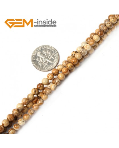 "G2427 4mm Natural Picture Jasper Stone Round Gemstone Tiny Jewelry Making Loose Spacer Beads Strand 15"" Natural Stone Beads for Jewelry Making Wholesale"