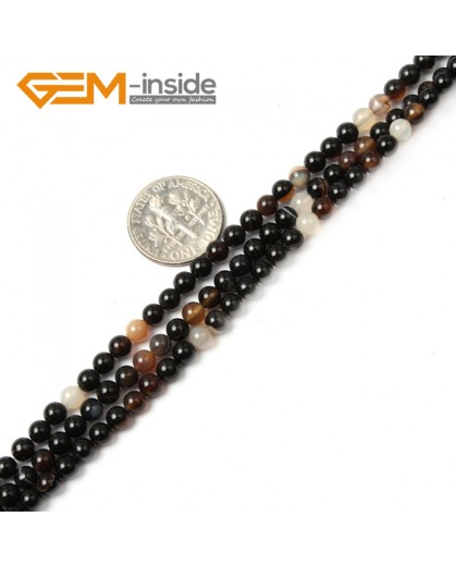 "G2428 4mm Round Black Sardonyx agate Gemstone Tiny Loose Spacer Beads Strand 15"" Natural Stone Beads for Jewelry Making Wholesale"