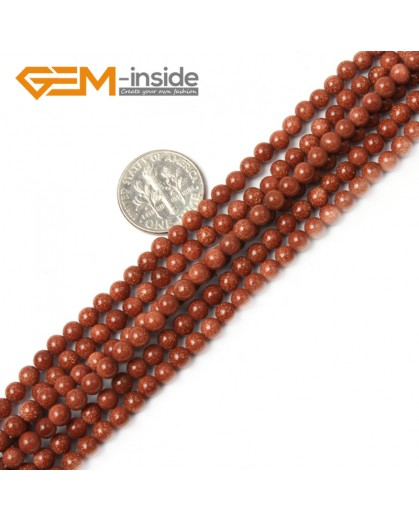 "G2429 4mm Gold Sandstone Round Gemstone Tiny Jewelry Making Loose Spacer Beads Strand 15"" Natural Stone Beads for Jewelry Making Wholesale"