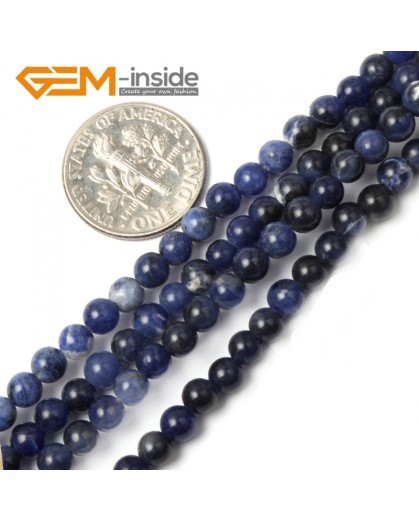 "G2434 4mm Natural Blue Sodalite Round Gemstone Tiny Jewelry Making Loose Spacer Beads Strand 15"" Natural Stone Beads for Jewelry Making Wholesale"