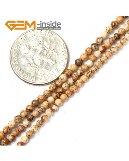"""G2461 2mm Natural Picture Jasper Stone Round Gemstone Tiny Jewelry Making Loose Spacer Beads Strand 15"""" Natural Stone Beads for Jewelry Making Wholesale"""