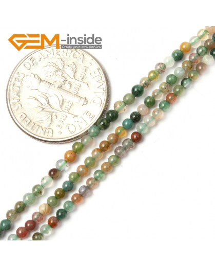 "G2462 2mm Natural Indian Agate Stone Round Gemstone Tiny Jewelry Making Loose Spacer Beads Strand 15"" Natural Stone Beads for Jewelry Making Wholesale"