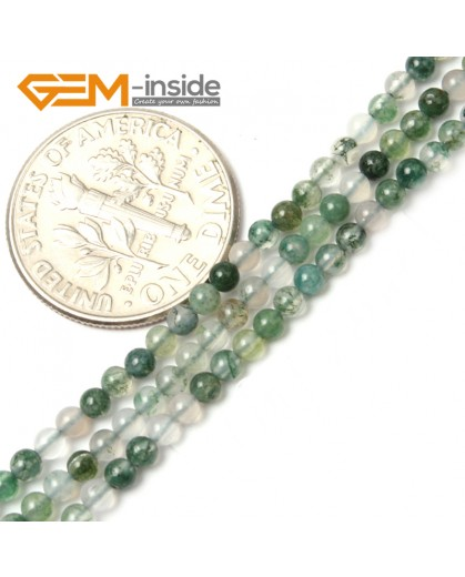 """G2463 2mm Natural Moss Agate Green Round Gemstone Tiny Jewelry Making Loose Spacer Beads Strand 15"""" Natural Stone Beads for Jewelry Making Wholesale"""