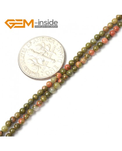 "G2472 2mm Natural Green Unakite Stone Round Gemstone Tiny Jewelry Making Loose Spacer Beads Strand 15"" Natural Stone Beads for Jewelry Making Wholesale"