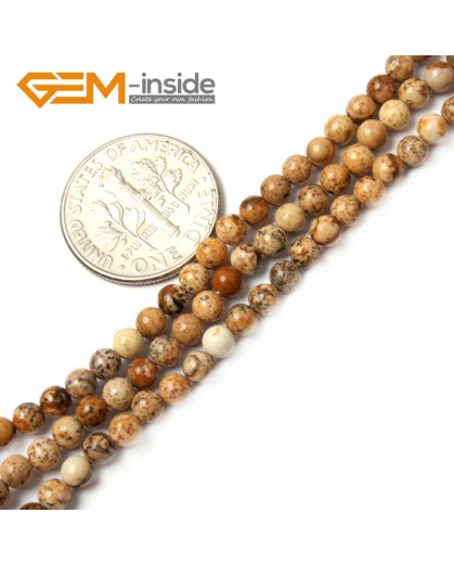 "G2483 3mm Natural Picture Jasper Round Gemstone Tiny Jewelry Making Loose Spacer Beads Strand 15"" Natural Stone Beads for Jewelry Making Wholesale"