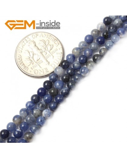 "G2490 3mm Natural Blue Sodalite Round Gemstone Tiny Jewelry Making Loose Spacer Beads Strand 15"" Natural Stone Beads for Jewelry Making Wholesale"