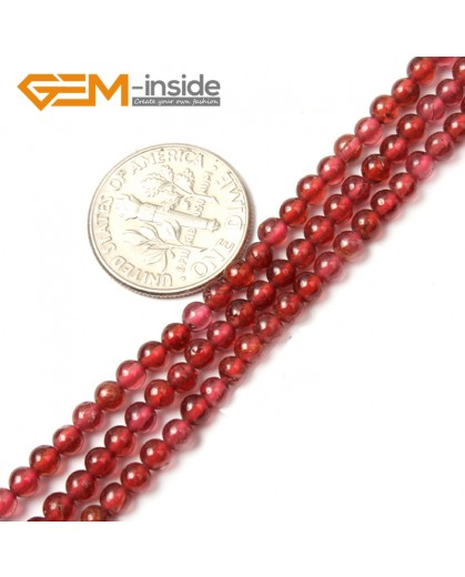 "G2498 3mm Natural Red Garnet Round Gemstone Tiny Jewelry Making Loose Spacer Beads Strand 15"" Natural Stone Beads for Jewelry Making Wholesale"