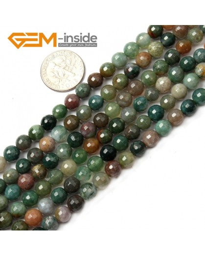 "G2519 6mm Round Faceted Gemstone Indian Agate Stone Beads Loose Beads Strand 15"" Natural Stone Beads for Jewelry Making Wholesale"
