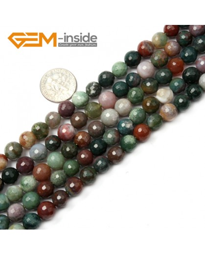 "G2520 8mm Round Faceted Gemstone Indian Agate Stone Beads Loose Beads Strand 15"" Natural Stone Beads for Jewelry Making Wholesale"