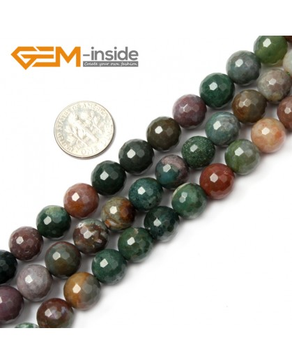 "G2521 10mm Round Faceted Gemstone Indian Agate Stone Beads Loose Beads Strand 15"" Natural Stone Beads for Jewelry Making Wholesale"