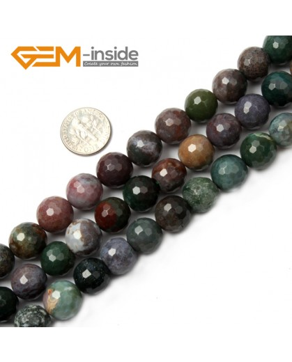 "G2522 12mm Round Faceted Gemstone Indian Agate Stone Beads Loose Beads Strand 15"" Natural Stone Beads for Jewelry Making Wholesale"
