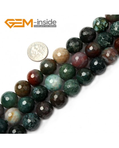 "G2523 14mm Round Faceted Gemstone Indian Agate Stone Beads Loose Beads Strand 15"" Natural Stone Beads for Jewelry Making Wholesale"
