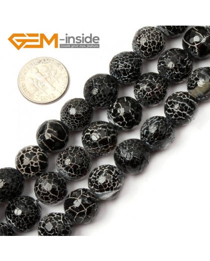 "G2580  12mm  Natural Crackled Round Faceted Black Agate Loose Beads Gemstone Strands 15""  Natural Stone Beads for Jewelry Making Wholesale"