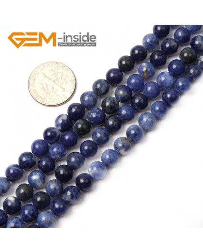 "G2601 6mm Natural Round Blue Sodalite Gemstone Loose Beads Strand 15"" Natural Stone Beads for Jewelry Making Wholesale"