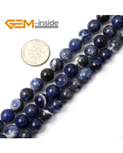 "G2602 8mm Natural Round Blue Sodalite Gemstone Loose Beads Strand 15"" Natural Stone Beads for Jewelry Making Wholesale"