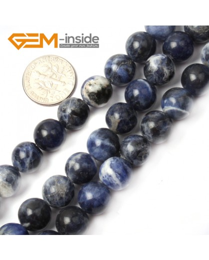 "G2603 10mm Natural Round Blue Sodalite Beads Gemstone Loose Beads Strand 15"" Natural Stone Beads for Jewelry Making Wholesale"