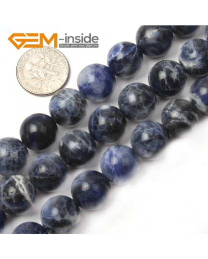 "G2604 12mm Natural Round Blue Sodalite Gemstone Loose Beads Strand 15"" Natural Stone Beads for Jewelry Making Wholesale"