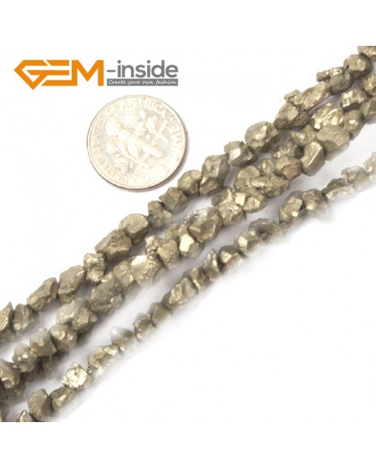 "G2642 5mm--6mm Freefrom Silver Gray Pyrite Gemstone Loose Beads 15""Jewelery Making Beads Natural Stone Beads for Jewelry Making Wholesale"