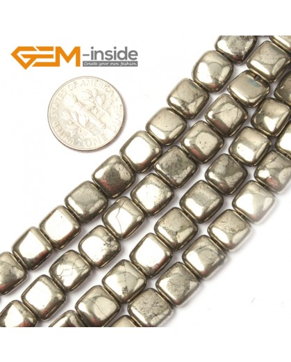"G2645 8mm square Gemstone Silver Gray Pyrite Stone Beads Strand 15"" Free Shipping Natural Stone Beads for Jewelry Making Wholesale"