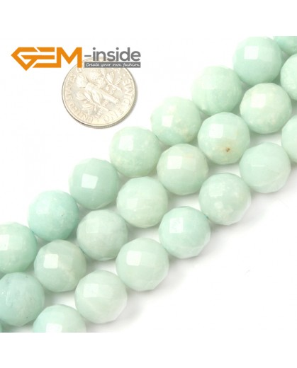 "G2673 12mm Natural Round Faceted Blue Green Amazonite Jewelry Making Gemstone Beads 15"" Natural Stone Beads for Jewelry Making Wholesale"