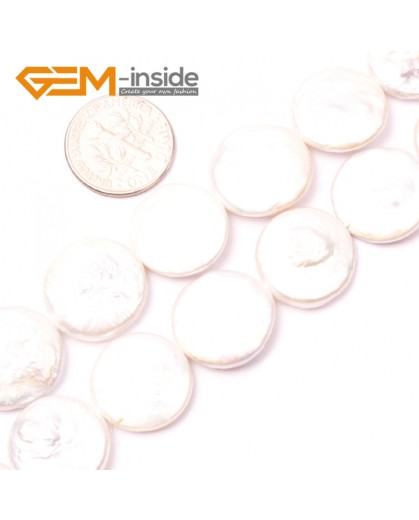 "G2760 16mm White Coin Freshwater Pearl Beads Jewelry Making Gemstone Loose Beads 15"" Gbeads Natural Stone Beads for Jewelry Making Wholesale"