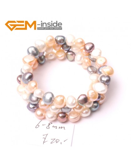 G2869 6-8mm Mixed Color Cultured Pearl Linking Jewelry Bracelet Adjustable Fashion Jewelry Jewellery Bracelets  for Women