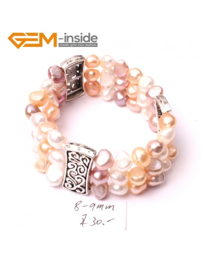 "G2878 8-9mm 3 Strands White Pink Purple Cultured Pearl Linking Jewelry Bracelet  Elastic Stretch 7"" Fashion Jewelry Jewellery Bracelets  for women"