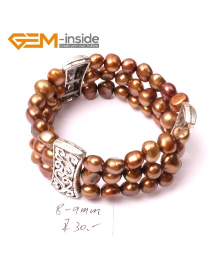"G2882 8-9mm 3 Strands Brown Cultured Pearl Linking Jewelry Bracelet  Elastic Stretch 7"" Fashion Jewelry Jewellery Bracelets  for women"